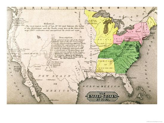 Map Of The United States In 1803 Giclee Print By Artcom - Us-map-in-1803