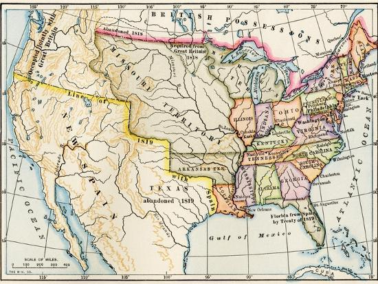 Map Of The United States In 1819 Showing Territory Under Spanish - Us-map-1819