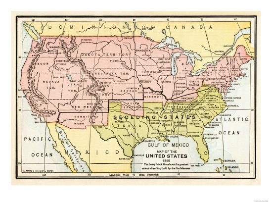 Map of the United States in 1861, at the Start of the Civil War Giclee  Print by | Art.com