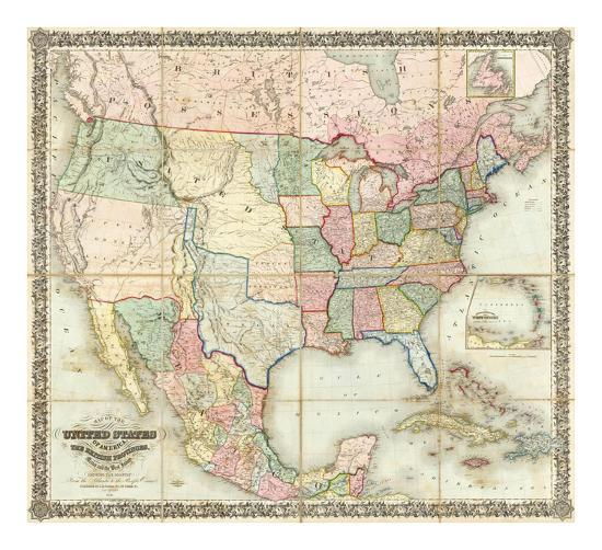 Map of The United States of America, c.1848-J^ H^ Colton-Art Print
