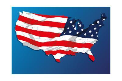 Map Of The United States Of America States, With Each State On Its Shape-Blink Blink-Art Print