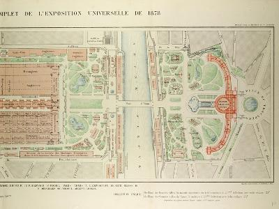 Map of the Universal Exposition of 1878 Paris--Giclee Print
