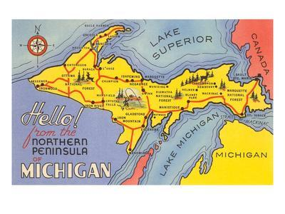 picture regarding Printable Map of Upper Peninsula Michigan named Map of the Higher Peninsula, Michigan Artwork Print as a result of