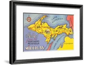 Map of the Upper Peninsula, Michigan