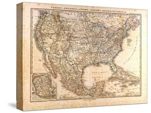 Map of the USA and Mexico, 1872