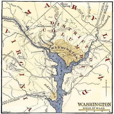 Map of the Washington DC Vicinity at the Outset of the Civil War--Giclee Print