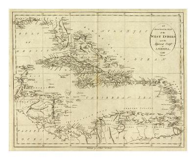 Map of the West Indies, c.1796-John Reid-Art Print