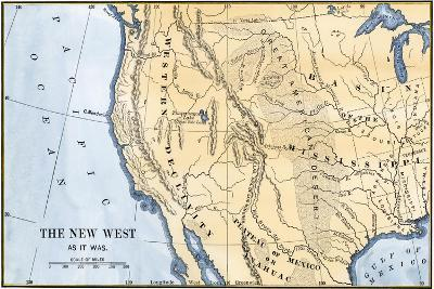 Map of the Western Frontier in the United States, 1800s--Giclee Print