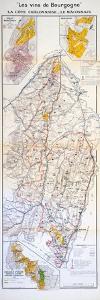 Map of the Wines of the Burgundy Region: La Côte Chalonnaise and Le Mâconnais