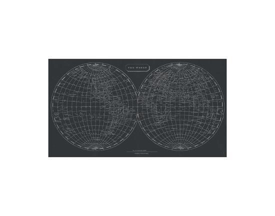 map of the world 1812 chalkboard art print by aaron arrowsmith