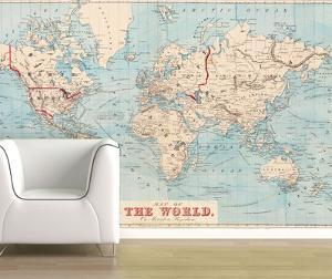 Beautiful map removable wallpaper artwork for sale posters and map of the world 1876 shipping routes self adhesive wallpaper gumiabroncs Choice Image