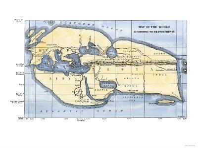 Map of the World According to Ancient Greek Geographer Eratosthenes--Giclee Print