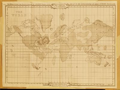 Map of the World, Atlantis in It's Decadence, Published by the Theosophical Publishing Company--Giclee Print