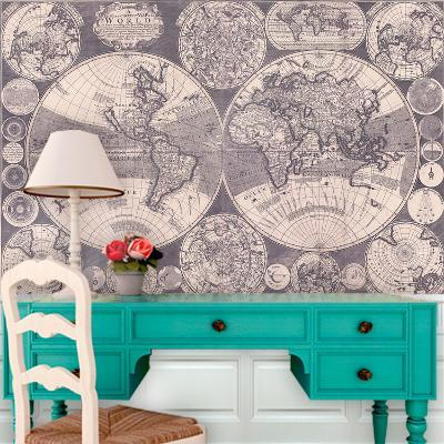 Map of the World (cica 1702) Self-Adhesive Wallpaper--Home Accessories