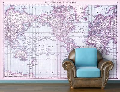 Map of the World (circa 1879) - Berry Self-Adhesive Wallpaper--Home Accessories