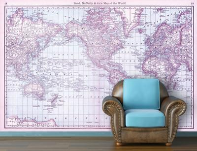 Map of the World (circa 1879) - Berry Self-Adhesive Wallpaper