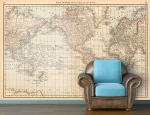 Beautiful map removable wallpaper artwork for sale posters and map of the world circa 1879 vintage self adhesive wallpaper gumiabroncs Choice Image