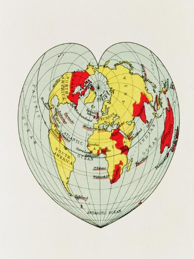 Map of the World Distorted into the Shape of a Heart--Giclee Print