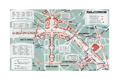 Map of the World Fair, Paris, 1937--Art Print