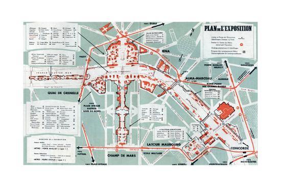 Map of the World Fair, Paris, 1937 Art Print by | Art.com