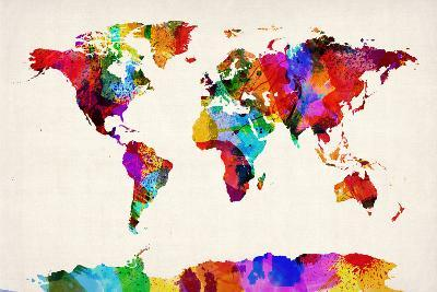 Map of the World Map Abstract Painting-Michael Tompsett-Art Print