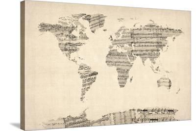 Map of the World Map from Old Sheet Music-Michael Tompsett-Stretched Canvas Print