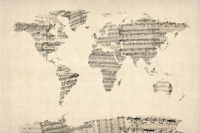 Map of the World Map from Old Sheet Music-Michael Tompsett-Art Print