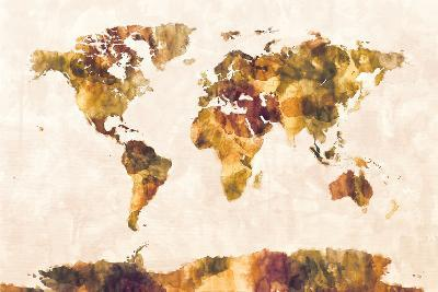 Map of the World Map Watercolor Painting-Michael Tompsett-Art Print