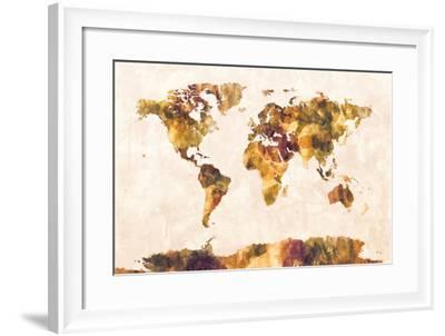 Map of the World Map Watercolor Painting-Michael Tompsett-Framed Art Print
