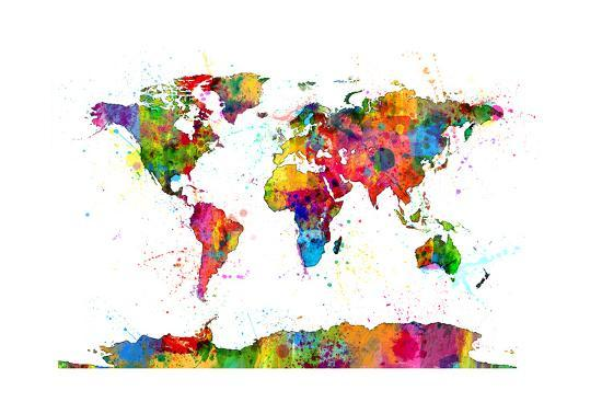 Map of the World Map Watercolor Art Print by Michael Tompsett | Art.com