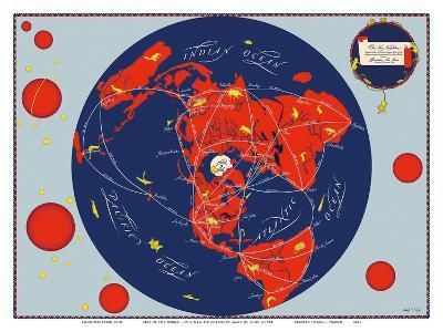 Map of the World - Our New Neighbors - Global Air Routes - Western Air Lines-Sally De Long-Art Print