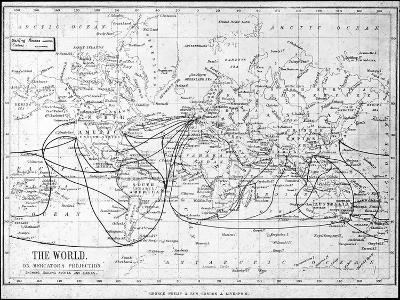 Map of the World Showing Sailing Routes and Telegraph Cables, C1893-George Philip & Son-Giclee Print