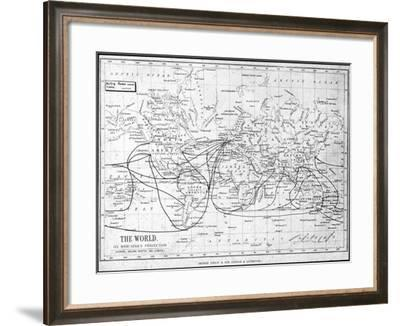 Map of the World Showing Sailing Routes and Telegraph Cables, C1893-George Philip & Son-Framed Giclee Print