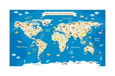 Beautiful Map Of The World.Map Of The World With Animals Beautiful Colorful Vector