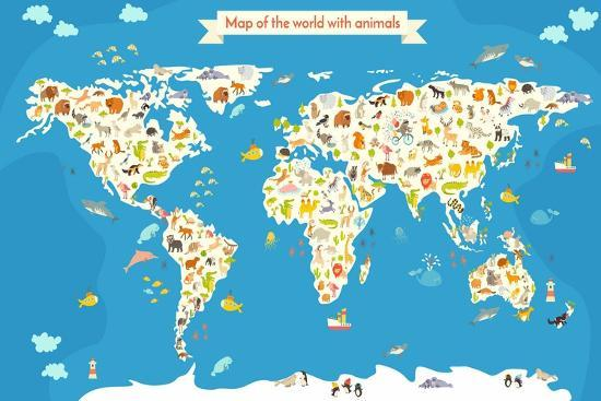 Map of the World with Animals. Beautiful Colorful Vector Illustration-coffeee_in-Art Print