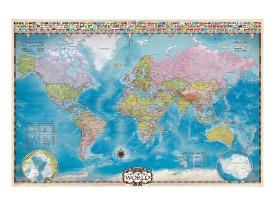 Map of the World with Flags--Art Print
