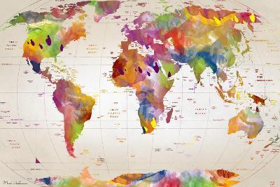 Map of the World-Mark Ashkenazi-Giclee Print