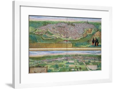 Map of Toledo and Valladolid, from Civitates Orbis Terrarum by Georg Braun-Joris Hoefnagel-Framed Giclee Print