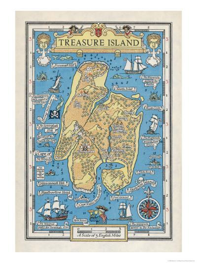 Map of Treasure Island-Monro S^ Orr-Giclee Print