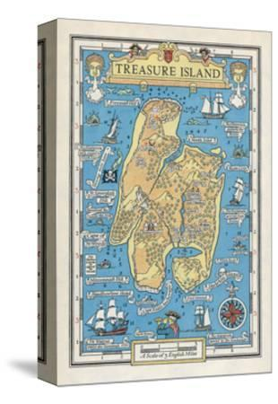 Map of Treasure Island-Monro S^ Orr-Stretched Canvas Print