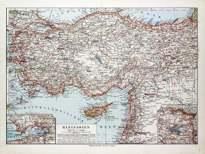 Map of Turkey Cyprus and Syria 1899--Giclee Print