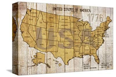 Map Of USA--Stretched Canvas Print