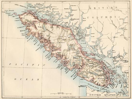 Columbia Canada Map.Map Of Vancouver Island British Columbia Canada 1870s Giclee
