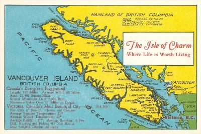 Map of Vancouver Island, British Columbia--Stretched Canvas Print