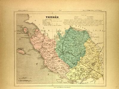 Map of Vendée France--Giclee Print