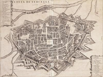 Map of Vercelli, Piedmont Region, in 1690--Giclee Print