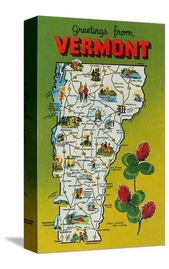 Map of Vermont--Stretched Canvas Print