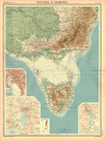 Map of Victoria and Tasmania-Unknown-Giclee Print
