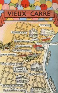 Map of Vieux Carre, New Orleans, Louisiana