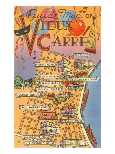 Map of Vieux Carre, New Orleans, Louisiana--Art Print